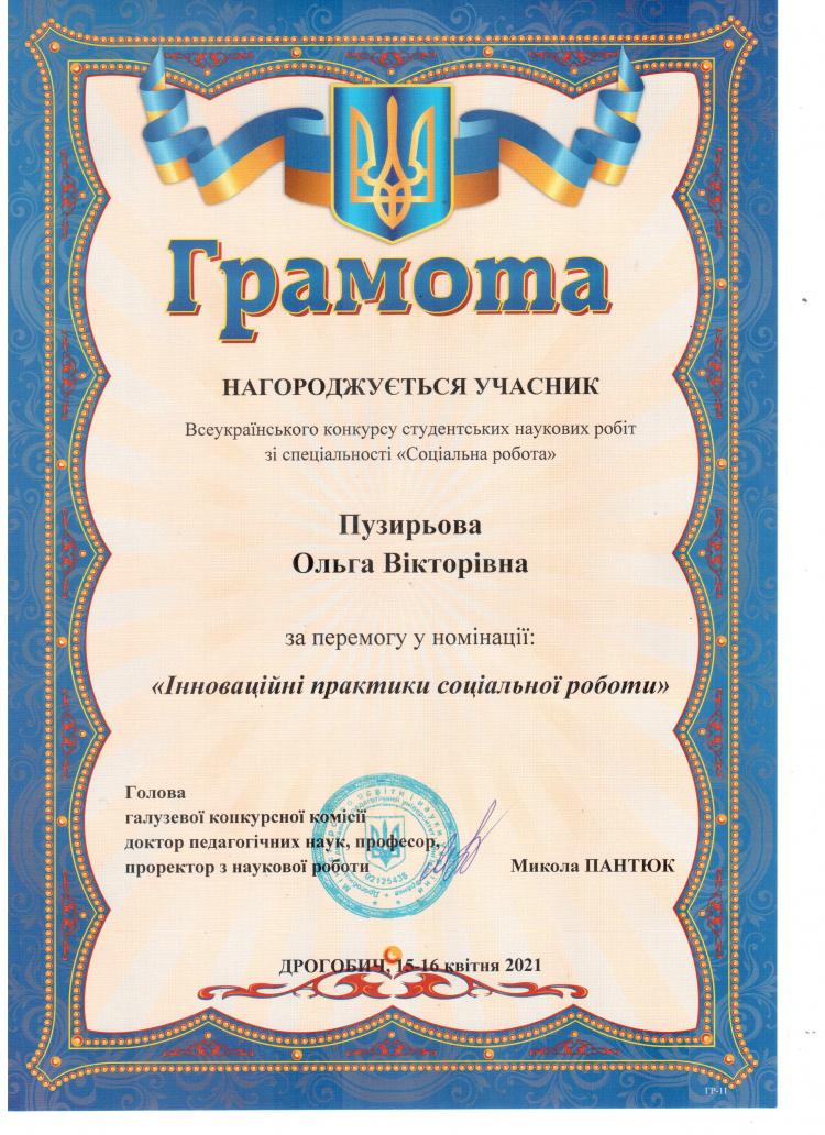 Вітаємо переможців Всеукраїнського конкурсу студентських наукових робіт зі спеціальності «Соціальна робота»!
